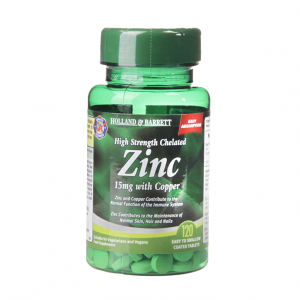 High Strength Chelated Zinc 15mg with Copper 120 Tablets
