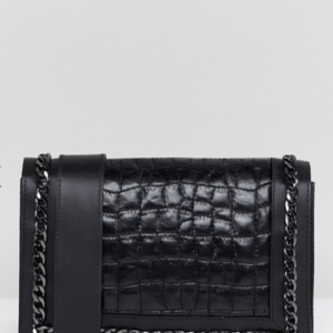 Leather Quilted Croc chain Cross Body