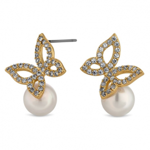 Butterfly and pearl stud earrings