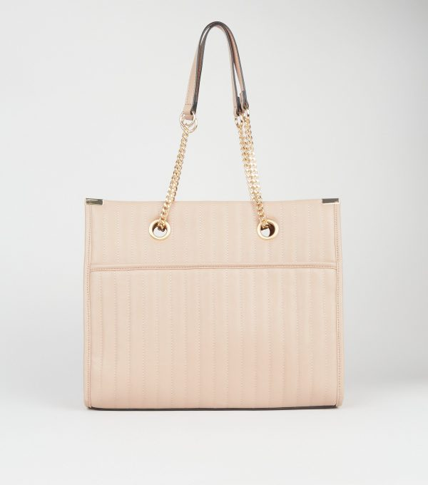 Camel Leather-Look Quilted Tote Bag